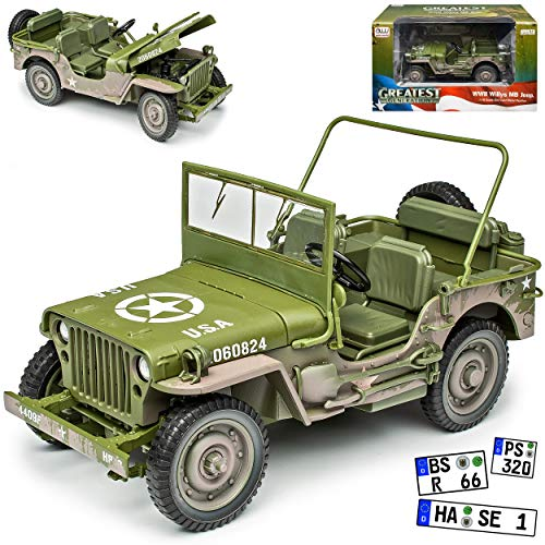 Jeep Willys 1/4 TON Army Truck Grün USA Army 2. Weltkrieg Offen 1/18 Auto World Modell Auto