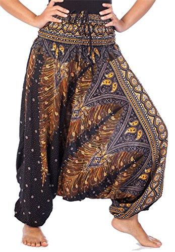 Lofbaz Damen 2 in 1 Haremshose & Jumpsuit Pfauendruck Schwarz & Gold M