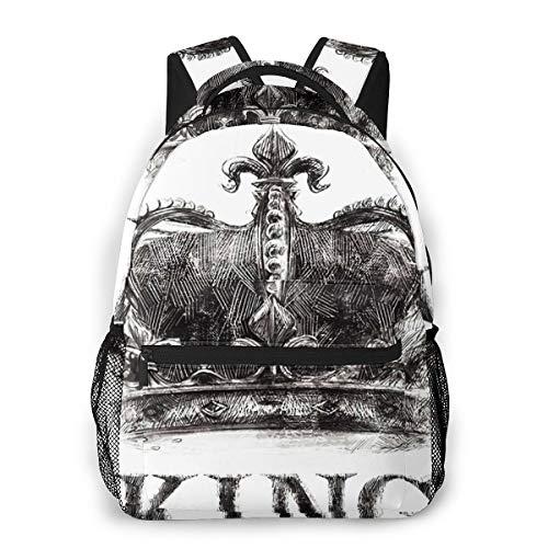 Laptop Rucksack Schulrucksack Rock King Crown Tee, 14 Zoll Reise Daypack Wasserdicht für Arbeit Business Schule Männer Frauen