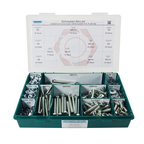 Sortiment/Set - M8 DIN 933 - Maschinenschrauben Stahl verzinkt Werkstoff 8.8 Gewindeschrauben/Scheiben/Muttern