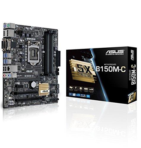 Asus B150M-C Mainboard Sockel 1151 (µATX, Intel B150, 4x DDR4 Speicher, 6x SATA 6Gb/s, 4x USB 3.0, 2x USB 2.0, PCIe 3.0)