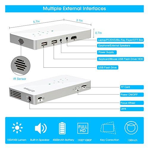 PTVDISPLAYミニDLPプロジェクター小型BluetoothWifi充電式ワイヤレスプロジェクターAndroid&Iphone対応HDMI/USB/TFカード(シルバー)