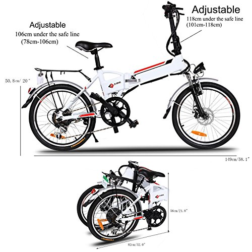 Cosway Foldable Electric A-Bike Urban City Bicycle 7 Speed 250W with Removable 36V/8AH Lithium-Ion Battery and Battery Charger, White [US Stock]