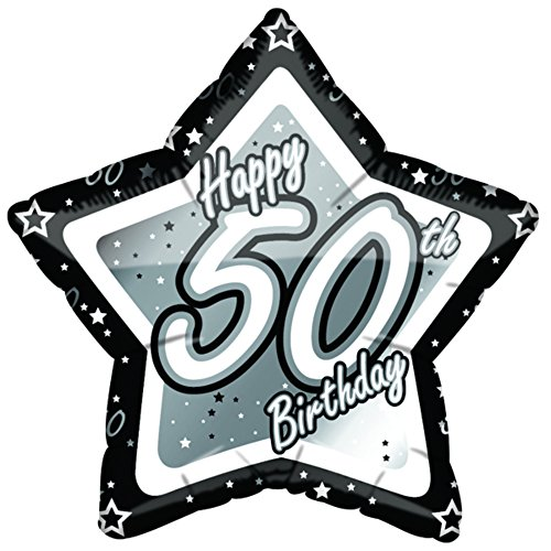 (18in, Black/Silver) - Creative Party Happy 50th Birthday Black/Silver Star Balloon (46cm )