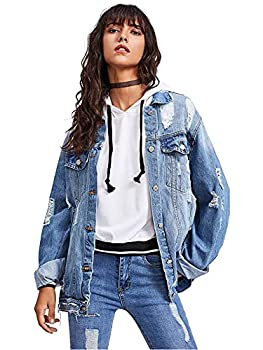 Floerns Women s Ripped Distressed Casual Long Sleeve Denim Jacket Blue M