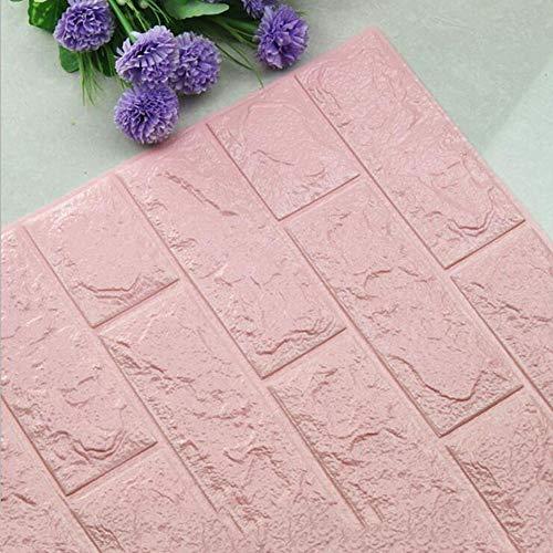 ZR Steintapete, 3D-Effekt-Block Wohnkultur Schale und Tapete (30,8 Zoll breit x 28 Zoll lang) (Farbe : Rosa)