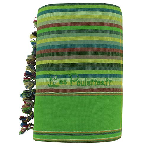 LES POULETTES Kikoy Toalla de Playa de Algodón con Rayas - Color Verde Manzana