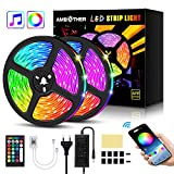 AMBOTHER LED Streifen 10m(2x5m) RGB LED Strip 300(2x150) LEDs 5050SMD Lichtband steuerbar via App,...