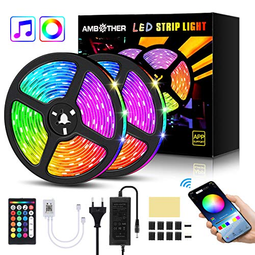 AMBOTHER LED Streifen 10m(2x5m) RGB LED Strip 300(2x150) LEDs 5050SMD Lichtband steuerbar via App, LED Bänder mit Fernbedienung Netzteil, Sync mit Musik, Dimmbar Selbstklebend Schneidbar für Deko 12V