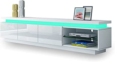 TV Unit TV Storage Cabinet Stand LED Lighted High Gloss Front 3 Drawers Television Stand Modern Furniture Console White
