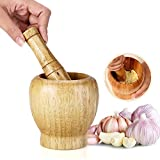 Set di pestello e mortaio, mini frantumatore manuale da cucina in legno ciotola frantoio domestico strumento per erbe aromatiche spezie
