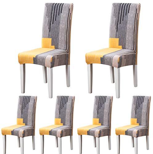 ARNTY Housses de Chaise de Salle à Manger,Moderne Élastique Couverture de Chaise Durable Housse Chaise Extensible pour Décoration de Mariage,Hôtel,Restaurant (Gris&Orange, 6 Pièces)