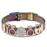 Pulseras De Malla De Acero Inoxidable Colorido para Las Mujeres Hombres Parejas Amante Cerradura Encanto Reloj Pulsera Joyería