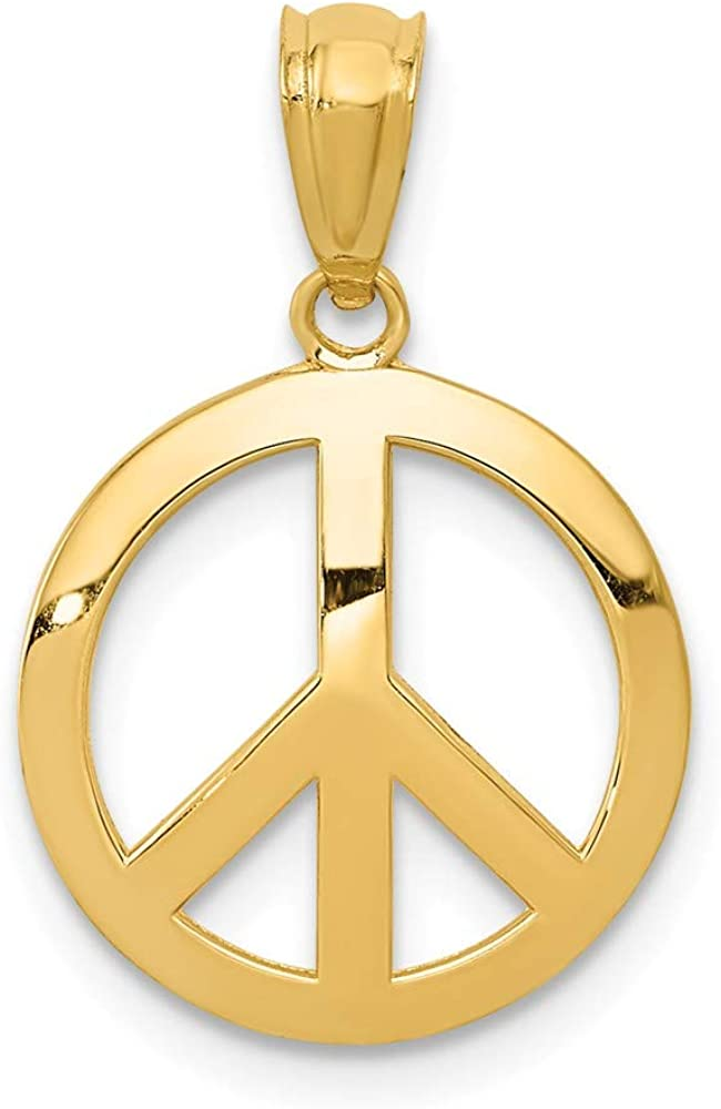 14k Yellow Gold Peace Sign Circle Pendant Charm Necklace Fine Jewelry For Women Gifts For Her