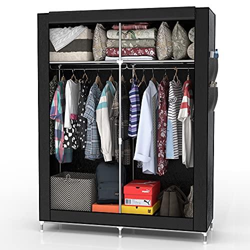 INTIRILIFE Faltschrank 108x170x45 cm in Raben SCHWARZ - mit Reißverschluss Stoffschrank Kleiderschrank mit Kleiderstange, Fächern und Seitentasche - Camping Steckschrank Textil Garderobe