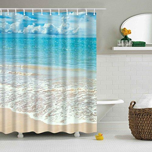 GWELL Anti-Schimmel Duschvorhang inkl. 12 Duschvorhangringe für Badezimmer, 180 x 200cm, Art-D: Strand