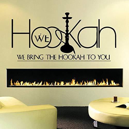 fancjj Shisha Store Sign Etiqueta de la Pared calcomanía Etiqueta para Dormitorio Hookah Lounge Logo Hookah Bar Ventana de la Pared decoración extraíble Home Decor 42X92CM