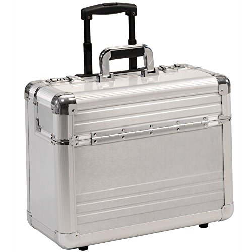 Pilot Case Trolley Aluminium Silver Wheeled Number Lock Laptop Compartment