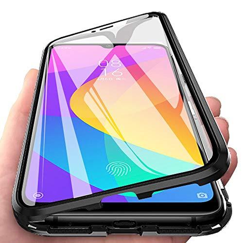 JoiHülle R&um Hülle für Xiaomi Mi A3 Magnetische Adsorption Handyhülle 360 Grad Schutzhülle Stark Magneten Aluminiumrahmen Haptik Gehärtetes Glas Stoßfest Metall Flip Cover