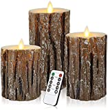 Aku Tonpa Pine Bark Effect Flameless Candles Battery Operated Pillar Real Wax Flickering Electric LED Candle Sets with Remote Control Cycling 24 Hours Timer, 4' 5' 6' Pack of 3
