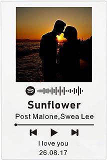 zouwii Custpm Spotify Music Glass Acrylic Music Photo Album  DIY Glass Album Cover  Photo Frame Memory Retro Photo for Ann...