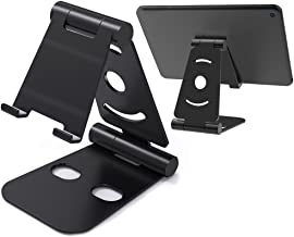 Foldable Tablet Phone Holder Stand, AFUNTA Multi-Angle Universal ABS Smartphone Mount Desk Cradle Compatible iPad iPhone Samsung - Black