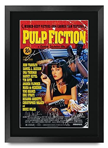 HWC Trading Pulp Fiction Die Cast Bruce Willis Samuel L Jackson Geschenke Printed Poster Autogramm Bild für Film-Memorabilia Fans - A3 Eingerahmt