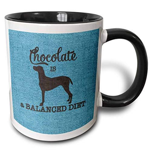 Chocolate es una taza de perro labrador retriever de dieta equilibrada, negro/azul, taza de café de cerámica para el hogar, taza de té para un festival único, regalo de cumpleaños, 11 oz