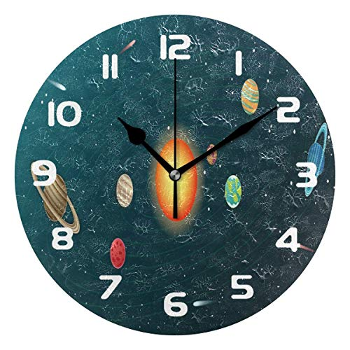 SanJIUCOM Wall Clock 10in Solar System Planet Silent Home Office Decor Non-Ticking Clock Office Decorative