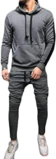 Men's Casual Contrast Color Sport Jogging Tracksuit 2 Piece Outfits Green X-Small