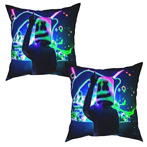 2Pcs Cushion Covers DJ Marshmallow DJ and Gorgeous Stage Live Print Square Decorative Throw Pillow Covers for Home, Bed, Sofa-50x50cm