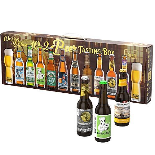 Beer Tasting Box | Geschenk-Idee | Papa | Männer | Bier-Spezialitäten von Privatbrauereien | mit Henkel | Geburtstag (10x0,33l Deutsche Biere + 2 Gläser)