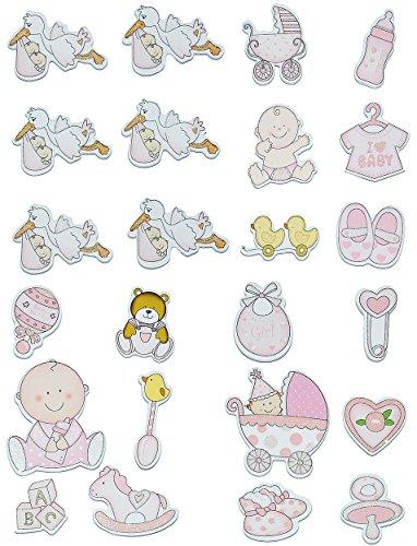 12 TLG. Set Sticker / Aufkleber aus Holz - Baby mit Glitzer für Mädchen - auch als Streumotiv - zur Geburt Kinderwagen Schnuller Babymotiv Taufe Babyschuhe Ba..