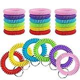30 Pcs Wrist Coil Key Chain Bulk Spring Spiral Keychain Wrist Keychain Stretch Lanyard Keychain Rings - 6 Colors
