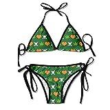 KL Decor Badeanzug,Cannabis Skull Heart Weed Frauen Sexy Tanga Weich Gepolsterter Bikini Set...