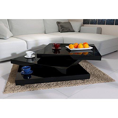 Deuba Couchtisch Wohnzimmertisch 60x60 cm Hochglanz Schwarz - Tischplatte 360° drehbar modern - Beistelltisch Sofatisch Tisch