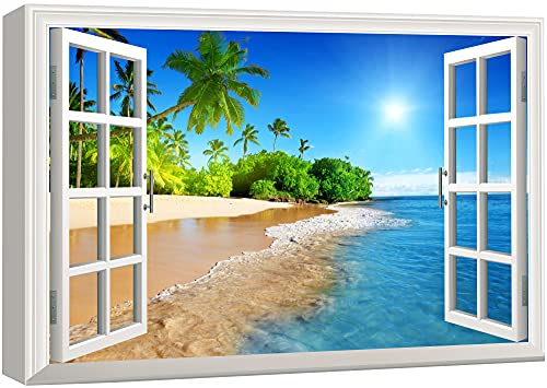 wall26 Canvas Print Wall Art - Window Frame Style Wall Art - Beautiful Tropical Beach with White Sand,Clear Sea and Palm Trees Under Blue Sunny Sky - 24 x 36