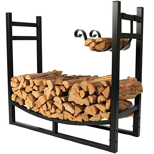 33inch Large Fireside Firewood Holder with Kindling Rack, Heavy Duty Metal Logs Storage Stand, Indoor/Outdoor/Fireplace/Stove/Fire Pit Accessory