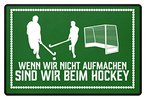 shirt-o-magic Hockey-Fan: .sind wir beim Hockey - Fußmatte -60x40cm-Kelly Green