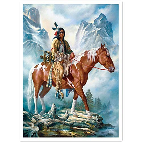 WANGGO DIY 5D Diamond Painting Kits,Adults and Beginner Horse Riding Diamond Painting Kits,Full Drill Round Diamond,Fun Gifts for Friends&Family, Craftwork for Home Wall Decor (11.8X15.7inch)