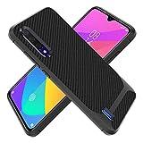 KUAWEI Hülle Case für Xiaomi Mi 9 Lite/CC9 Tasche Neu Stylisch Schwarz Ultradünn TPU Silikon Kohlefaser Stoßdämpfend Anti-Fingerabdruck Hohe Qualität Kratzfest Weich Bumper Schutzhülle