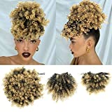 Afro Puff Bun with 2 Replaceable Bangs for Natural Hair Afro High Puff Drawstring Ponytail with Afro Puff Bangs and Spring Curl Bangs Clip in Short Afro Kinky Curly Pineapple Hairstyle for Black Women