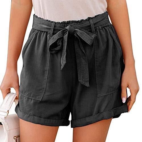 Pantalones Cortos Deportivos para Mujer Shorts de Playa de Verano Casuales Cintura Elástica Ajustable y Bolsillo para Fitness Running Yoga