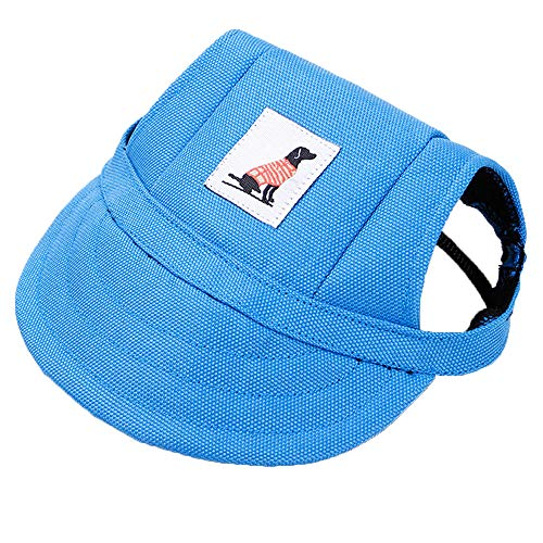 Dog Hat with Ear Holes Summer Canvas Baseball Cap for Small Pet Dog Outdoor