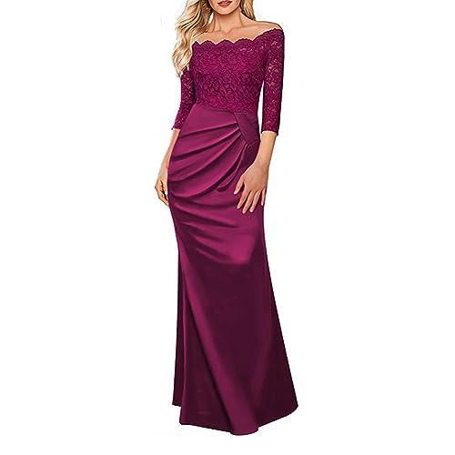 8877ca215ac Women s 1920 s Retro Elegant Floral Lace Pleated Vintage Bridesmaid 3 4  Sleeve Off Shoulder Maxi
