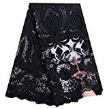 AFRICANJUN French Tulle Wedding Lace Fabric Embroidery Velvet Lace Sequins Nigerian African Mesh Lace Fabric Sequins Fabric (Color : Black, Size : 5 Yards)