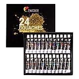 Zenacolor - 24 Pintura Gouache en Tubo 12ml - Para Pintar en Todos los Soportes tanto para Artistas y Principiantes