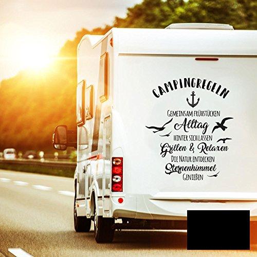 Autotattoo Camping Heckscheibenaufkleber Wohnwagen Sticker Campingregeln Autosticker Wohnmobil M2376 - ausgewählte Farbe: *schwarz* ausgewählte Größe: *S - 60cm hoch x 53cm breit*