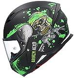 Casco Shiro SH-890 Broken Head Negro Mate Y Verde EDICION Limitada HOMOLOGADO Unisex con PINLOK Incluido L