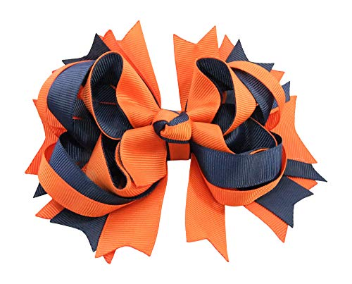 Stacked Hair Bow Grosgrain Ribbon with Alligator Clip (Orange & Navy Blue)